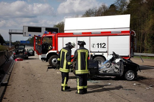 Stock Photo: 1848-106755 Traffic accident, 5 people hurt, on A1 motorway at the Leverkusen motorway junction, North Rhine_Westphalia, Germany, Europe