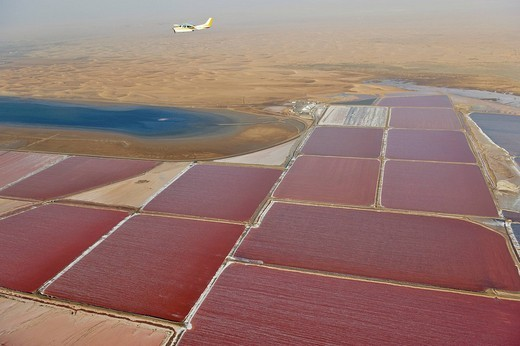 Saltworks near Walvis Bay, aerial picture, Namibia, Africa : Stock Photo