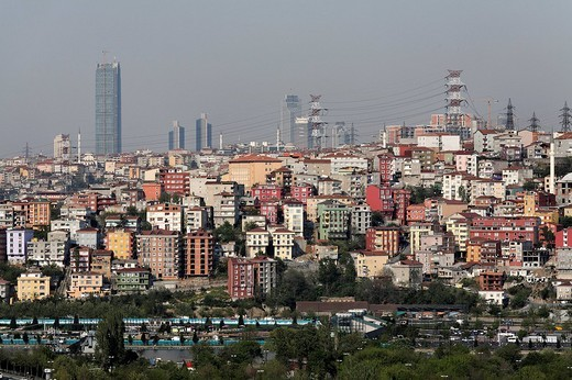 Modern city district Suetluece, view from the Cafe Pierre Loti, Eyuep, Istanbul, Turkey : Stock Photo