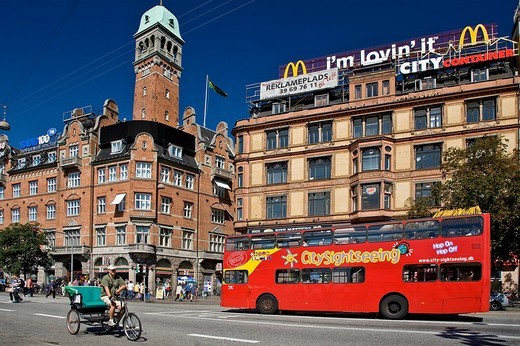Sightseeing bus at Copenhagen city hall square, Copenhagen, Denmark, Europe : Stock Photo