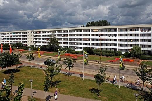 Homes in the new town of Lubbenau, Spreewald, Brandenburg, Germany, Europe : Stock Photo