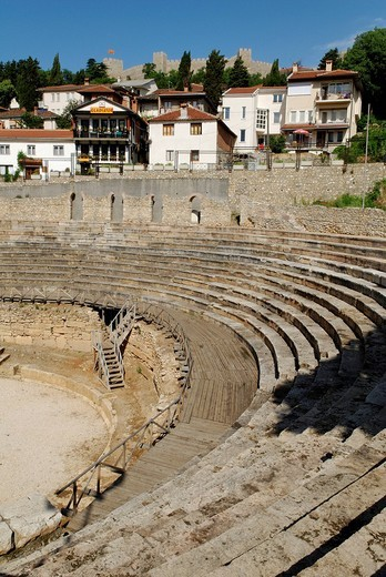 Stock Photo: 1848-10715 Ancient theatre in Ohrid on Lake Ohrid, UNESCO World Heritage Site, Macedonia, FYROM, Former Yugoslav Republic of Macedonia, Europe