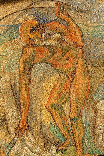 Naked old man, mosaic at the concert hall Duesseldorf, NRW, Germany : Stock Photo