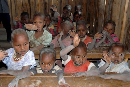 Masai children in school Amboseli National Park Kenya : Stock Photo