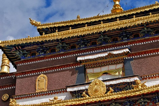 Facade, golden roof, window, Palcho Monastery or Pelkor chode or Shekar, Gyantse, Tibet : Stock Photo