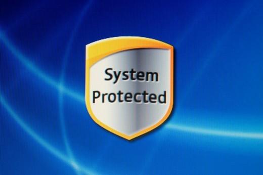 Stock Photo: 1848-107776 Screenshot, Computer Warning, System Protected
