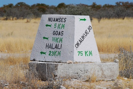 Stock Photo: 1848-107831 Stone directional marker, Etosha National Park, Namibia, Africa