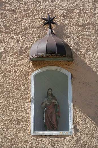 Patron saint statue erected on a building facade, Muehldorf am Inn, Upper Bavaria, Bavaria, Germany, Europe : Stock Photo