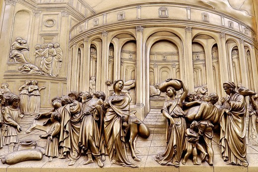 Stock Photo: 1848-108060 Bronze door to the Florence Paptistery or Battistero di San Giovanni or Baptistery of St John, early Renaissance masterpiece by Lorenzo Ghiberti, Florence, UNESCO World Heritage Site, Tuscany, Italy, Europe