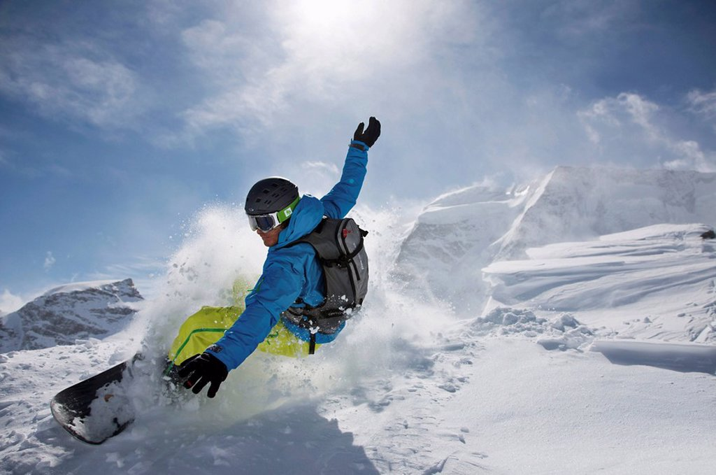 Stock Photo: 1848-108120 Snowboarder, dynamic snow, action, St. Moritz, Switzerland, Europe
