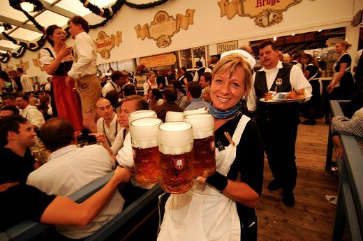 Waitress, Wies´n, October fest, Munich, Bavaria, Germany, Europe : Stock Photo