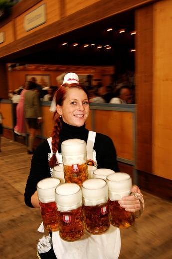Waitress, Wies´n, October fest, Munich, Bavaria, Germany, Europe : Stock Photo
