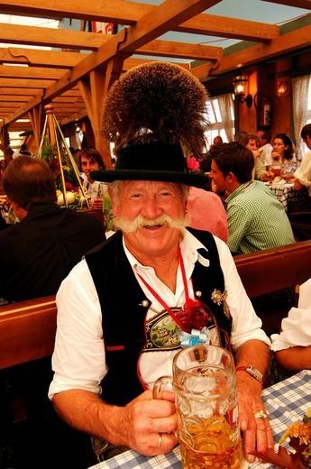 Bavarian man in tradtional costume, Wies´n, October fest, Munich, Bavaria, Germany, Europe : Stock Photo