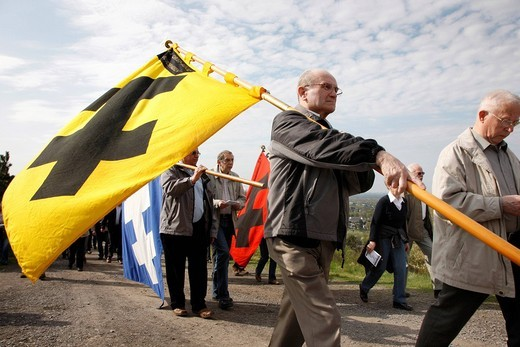 Way of the Cross procession on Good Friday with mining motifs on the Haniel slag heap, at the Prosper_Haniel mine, Bottrop, Ruhr area, North Rhine_Westphalia, Germany, Europe : Stock Photo