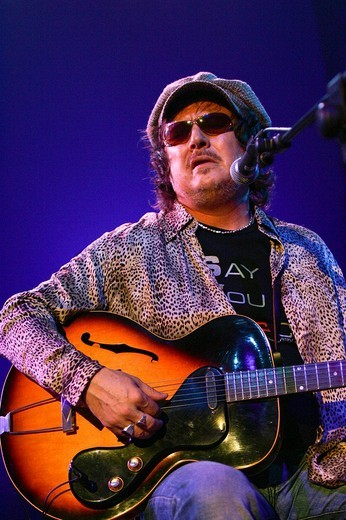 The Italian rock musician Zucchero live at the Blue Balls Festival in the Luzernersaal hall of the KKL venue in Lucerne, Switzerland : Stock Photo