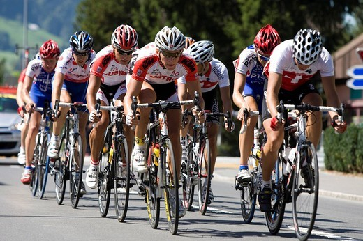Stock Photo: 1848-109038 Group of cyclists cycling in the GP Tell 2009, Switzerland, Europe