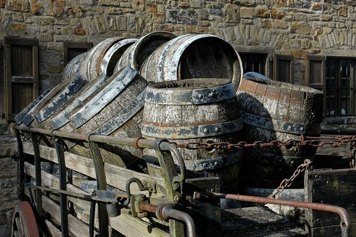 Old beer kegs on a cart in front of the brewery, Westphalian Open_Air Museum Hagen, Road of Industry Culture, North Rhine_Westphalia, Germany : Stock Photo