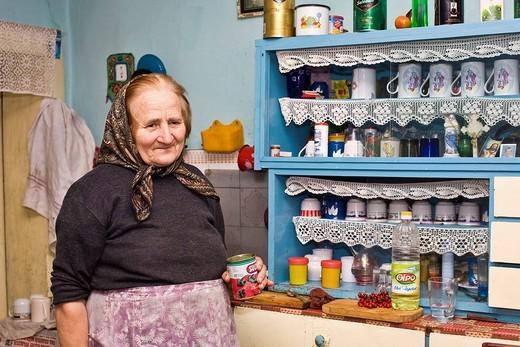 Portrait, Rumanian woman wearing a headscarf in Bezded, Salaj, Transylvania, Rumania, Europe : Stock Photo