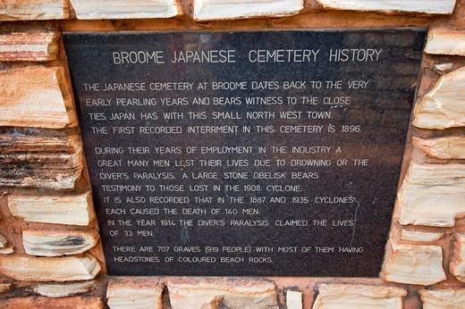 Information panel, japanese cemetery, Broome, Western Australia, WA, Australia : Stock Photo