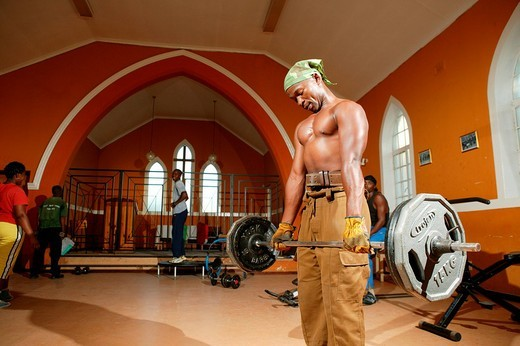 Stock Photo: 1848-109934 Young men at a church that´s been converted into a gym, Capetown, South Africa, Africa
