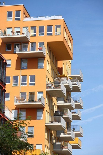 Stock Photo: 1848-109953 Modern apartment building with balconies, Alte Messe Muenchen, Old Munich Exhibition Grounds, Munich, Bavaria, Germany