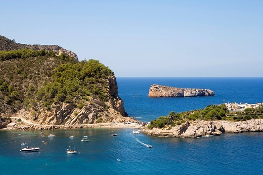 Island in the bay of Port Sant Miquel, Ibiza, Balearic Islands, Spain, Europe : Stock Photo