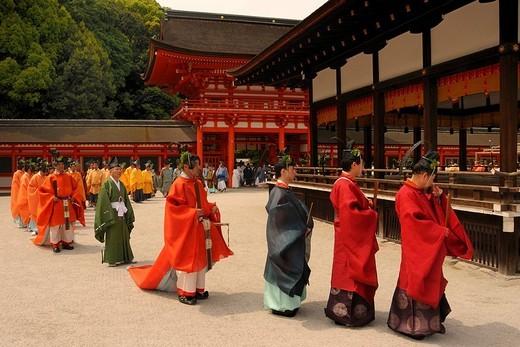 Shinto procession from the Shimogamo Shrine to Mikage Mountain in Kyoto, Japan, Asia : Stock Photo
