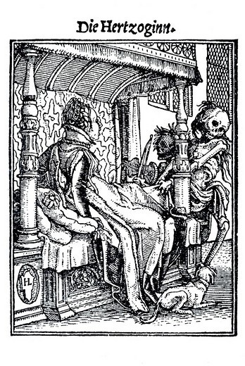Stock Photo: 1848-110483 Woodcut, The Duchess, Hans Holbein the Younger, Dance of Death, 1538
