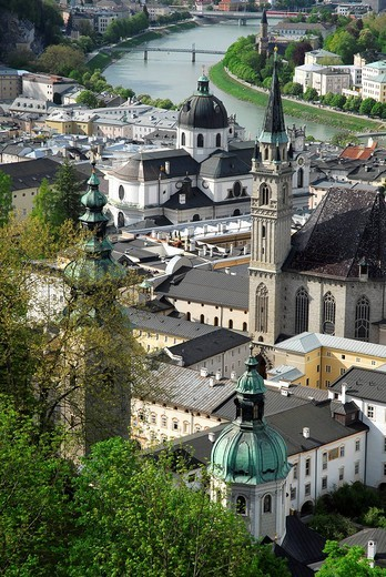 View from the Festung Hohensalzburg fortress on the historic town with Franziskanerkirche Franciscan church, Kollegienkirche collegiate church, Salzburg´s University Church and the Salzach River, Salzburg, Salzburger Land state, Austria, Europe : Stock Photo