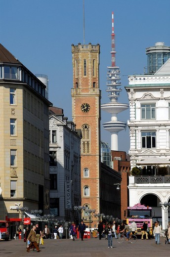 Stock Photo: 1848-111274 Old Post, Heinrich Hertz Tower and Alster Arcades in Hamburg, Germany