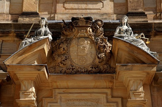 Detail of the decorated entrance of the Neue Residenz palace, Bamberg, Upper Franconia, Bavaria, Germany, Europe : Stock Photo