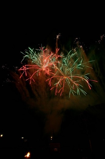 Stock Photo: 1848-111678 Fireworks at Raitenhaslach Cloister, Raitenhaslach, Burghausen, Upper Bavaria, Bavaria, Germany, Europe