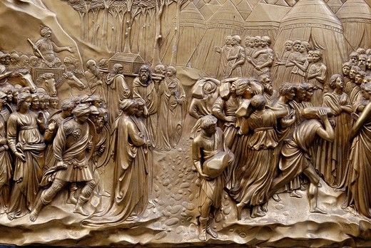 Stock Photo: 1848-112002 Bronze door to the Florence Paptistery or Battistero di San Giovanni or Baptistery of St John, early Renaissance masterpiece by Lorenzo Ghiberti, Florence, UNESCO World Heritage Site, Tuscany, Italy, Europe