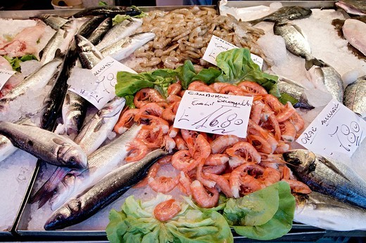 Fish at the Fish Market, Rialto Markets, Venice, Venezia, Italy, Europe : Stock Photo
