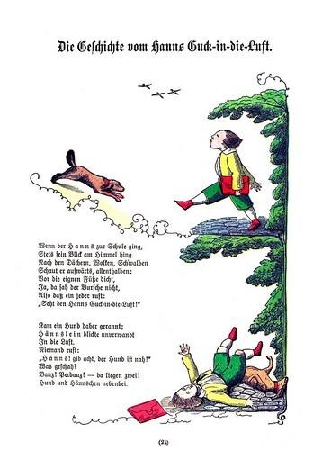 Stock Photo: 1848-112526 Book illustration, Die Geschichte vom Hanns Guck_in_die_Luft, The Story of Hans Look_in_the_Air, Der Struwwelpeter, Shaggy Peter, Dr. Heinrich Hoffmann, 1876