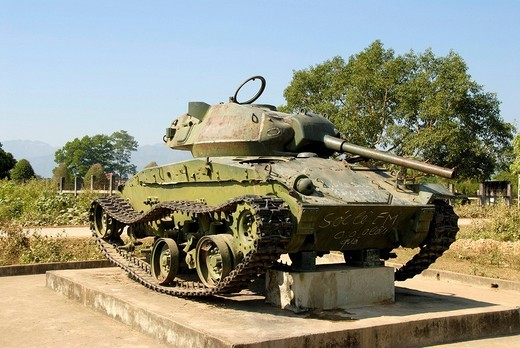 Stock Photo: 1848-112737 First Indochina War 1954, French tank, Dien Bien Phu, Vietnam, Southeast Asia, Asia