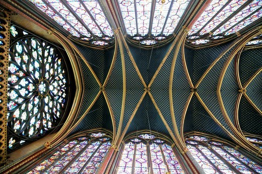 Cainte_Chapelle, high gothic, interior view of the ceiling, upper chapel, Paris, France, Europe : Stock Photo