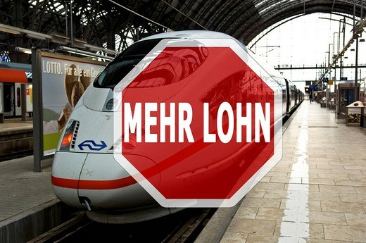 Claim for higher wages at the Deutsche Bahn : Stock Photo