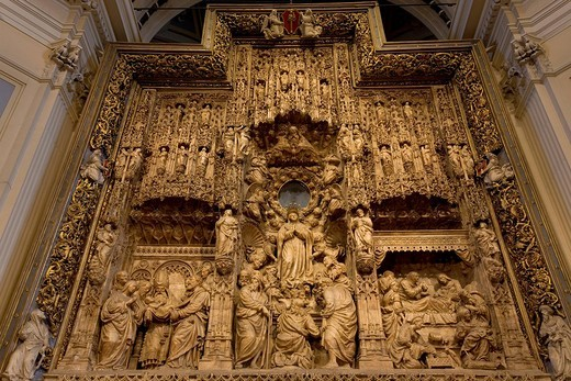 Stock Photo: 1848-114008 Basilica del Pilar, Basilica of Our Lady of the Pillar, interior view of the high altar, Zaragoza, Saragossa, Aragon, Spain