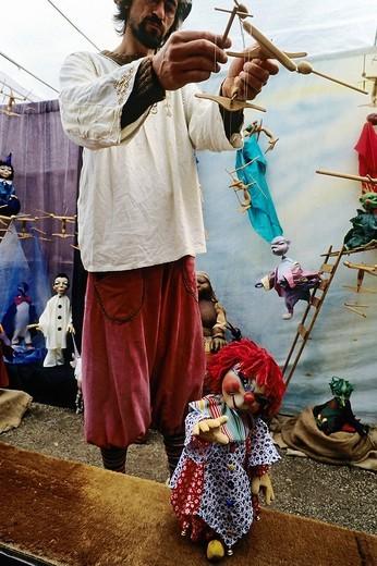 Stock Photo: 1848-114075 Puppeteer with a theatre marionette, traditional craft market, Flachsmarkt Burg Linn, Krefeld, Lower Rhineland, North Rhine Westphalia, Germany, Europe