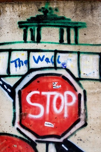 Graffiti depicting the Berlin Wall, Berlin, Germany, Europe : Stock Photo