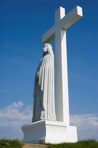 Latin Cross Sculpture, Aglona Basilica, Aglona, Latgalia, Latvia, Baltic region, Baltics : Stock Photo