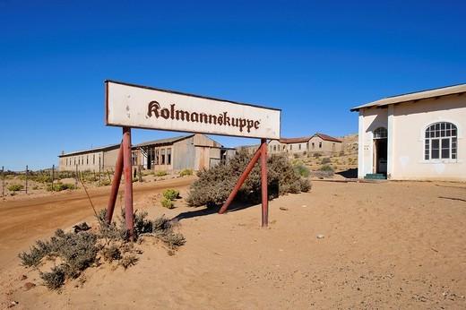 Town limits sign in Kolmanskop, Namibia, Africa : Stock Photo