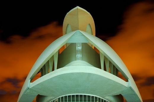 Stock Photo: 1848-114955 Palace of Arts Reina Sofia, by S. Calatrava, City of Arts and Sciences, Comunidad Valenciana, Valencia, Spain, Europe