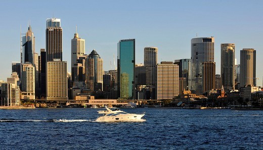 View of Sydney Cove, yacht off Circular Quay, port, skyline of Sydney, Central Business District, Sydney, New South Wales, Australia : Stock Photo