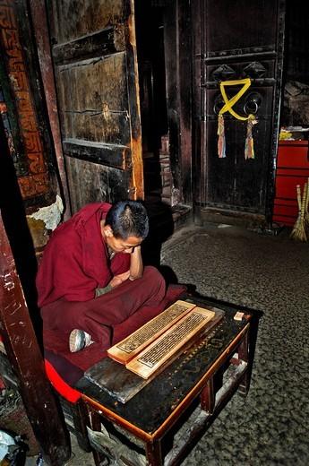 Stock Photo: 1848-115678 Reading monk, Palcho Monastery or Pelkor Chode Monastery or Shekar Gyantse, four faces Buddha Vairocana, Gyantse, Tibet