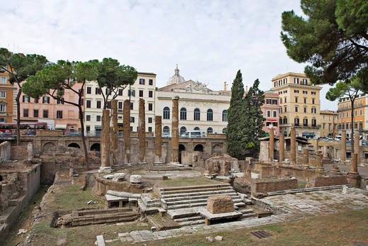 Excavation of temples from the Roman Republic period in Area Sacra del Largo Torre Argentina, Rome, Italy, Europe : Stock Photo