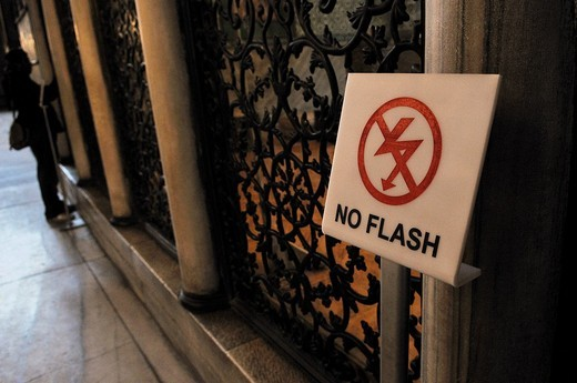 Sign, No Flash, Hagia Sophia, Istanbul, Turkey : Stock Photo