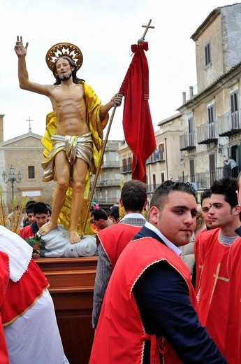 Holy Week, Easter Procession, Pietraperzia, Sicily, Italy, Europe : Stock Photo