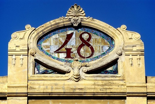 Decorative gable with the house number made of glass tiles, Art Déco style, Viale Regina Margherita, Viareggio, Italian Riviera, Versilia, Tuscany, Italy, Europe : Stock Photo